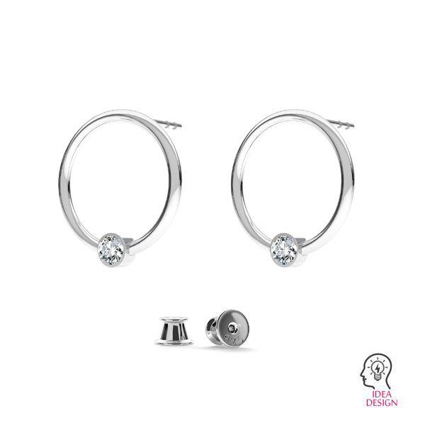 Kolczyk sztyft - kółko baza do kryształów Swarovskiego*srebro AG 925*ODL-00703 KLS 13,5 mm (1088 PP 18)