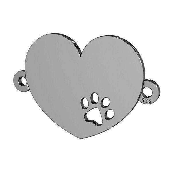 Zawieszka łącznik - serce psia łapa*srebro AG 925*LKM-2605 - 0,50 14x15,5 mm