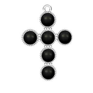 Zawieszka - krzyż z białymi perłami Swarovskiego*srebro AG 925*ODL-00666 20,5x29,5 mm ver.2