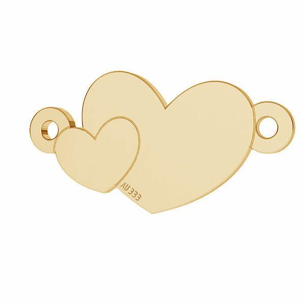 Złota zawieszka łącznik - dwa serca*złoto AU 333*LKZ8K-30022 - 0,30 8,7x17 mm