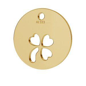 Złota zawieszka - blaszka okrągła - koniczynka*złoto AU 333*LKZ8K-30009 - 0,30 9,5x9,5 mm