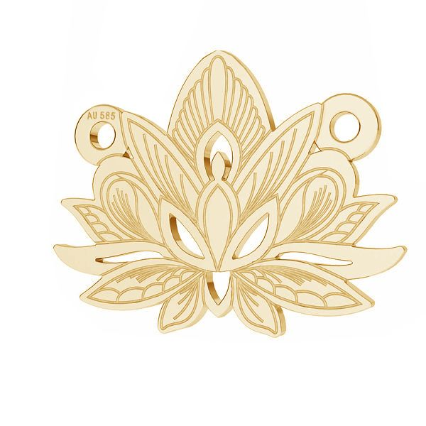 Złota zawieszka łącznik ażurowy - kwiat lotosu*złoto AU 585*LKZ14K-50050 - 0,30 12,3x15,8 mm
