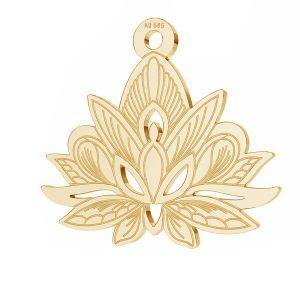Złota zawieszka - kwiat lotosu*złoto AU 585*LKZ14K-50049 - 0,30 14,4x15,8 mm