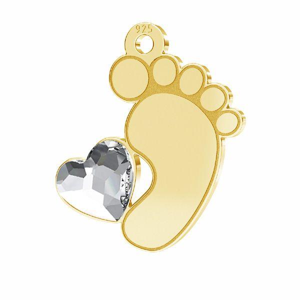 Zawieszka - stópka dziecka serce kryształ Swarovskiego*srebro AG 925*LKM-2644 - 0,50 13x14,7 mm