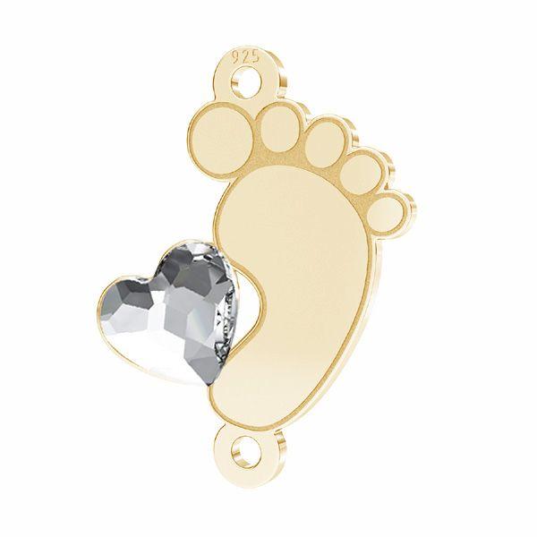 Zawieszka łącznik - stópka dziecka serce kryształ Swarovskiego*srebro AG 925*LKM-2645 - 0,50 13x16,8 mm
