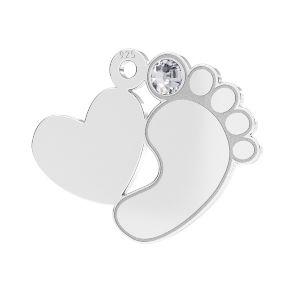 Zawieszka - stópka dziecka serce z kryształem*srebro AG 925*LKM-2646 - 0,50 13,2x16,5 mm