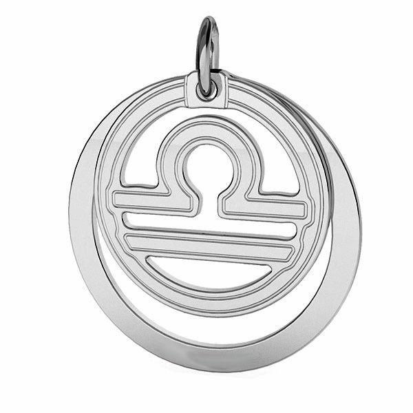 Zawieszka z kółkiem - znak zodiaku - waga*srebro AG 925*LKM-2594 - 0,50 ver.2 18x22 mm
