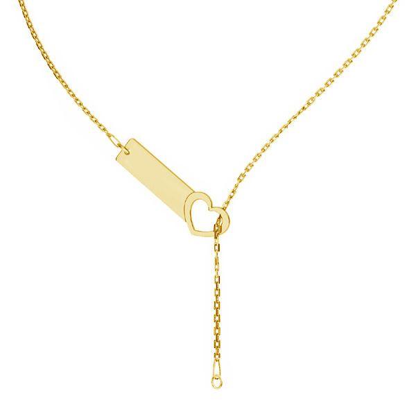 Baza łańcuszkowa do naszyjników typu ankier blaszka prostokątna - serce*srebro AG 925*CHAIN 41 (A 030)