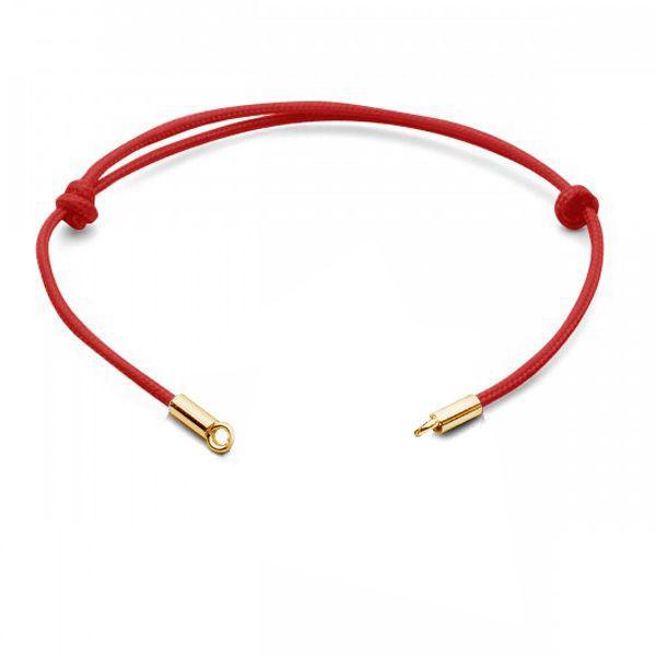 Bransoleta sznurkowa woskowana - regulowana - czerwona*srebro AG 925*J-STRING BRACELET 23 13,5-24,50 cm