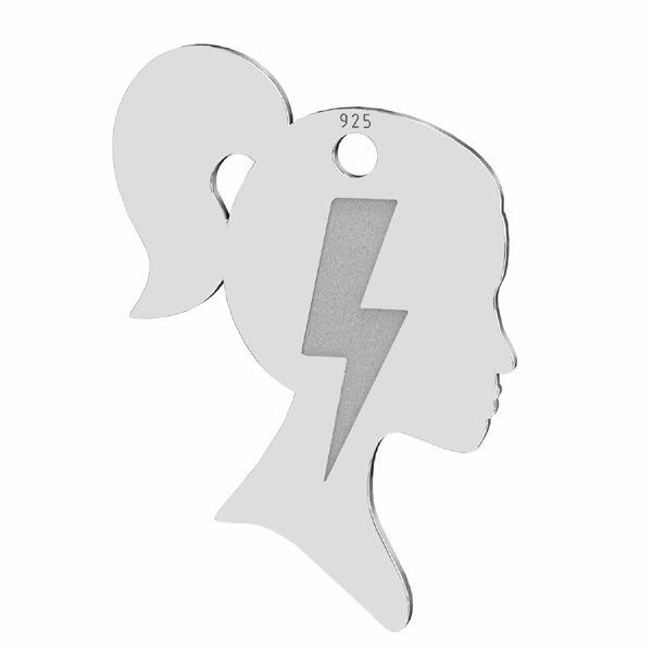 Zawieszka - profil kobiety, piorun, błyskawica*srebro AG 925*LKM-2828 - 0,50 14,8x21,3