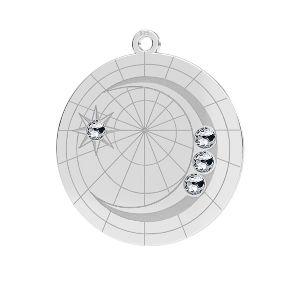Zawieszka - księżyc z kryształami Swarovskiego*srebro AG 925*LKM-2625- 0,50 22x23,5 mm