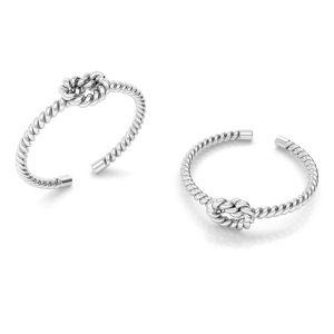 Pierścionek uniwersalny - splot sznurek z supełkiem*srebro AG 925*U-RING ODL-00817 5x20 mm