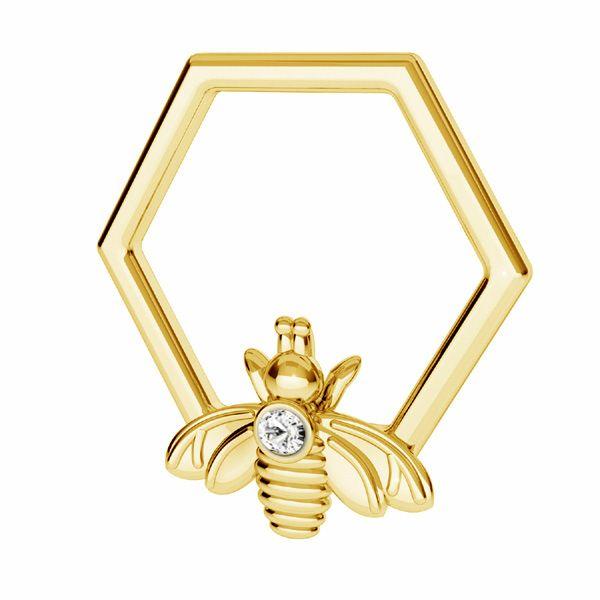 Zawieszka - plaster miodu pszczoła z kryształem Swarovskiego*srebro AG 925*ODL-00830 ver.2 13,9x15 mm