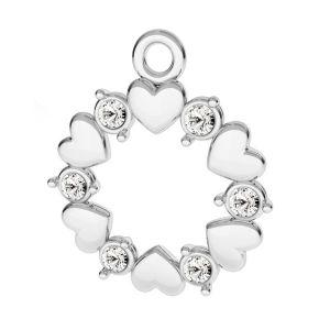 Okrągła zawieszka serca i kryształy*srebro AG 925*ODL-00812 ver.2 13,5x15,5 mm
