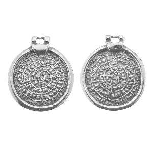 Zawieszka - moneta dysk z Fajstos*srebro AG 925*ODL-00858 19,9x22,8 mm