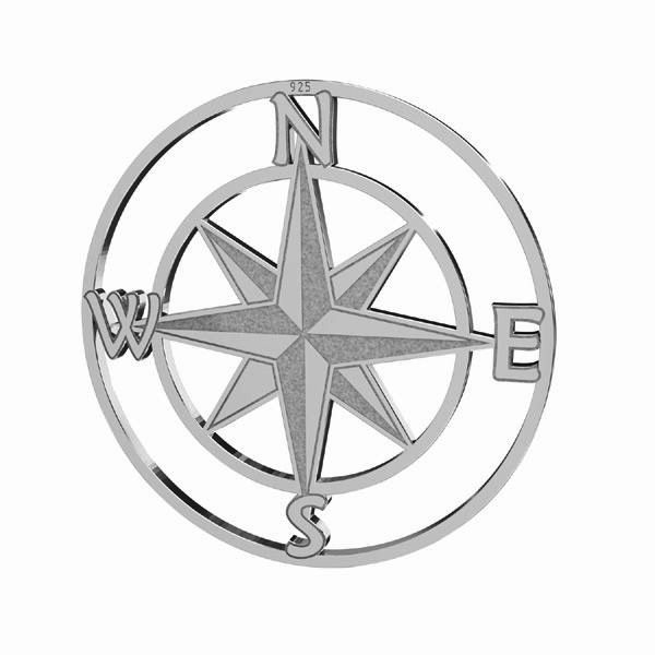 Zawieszka - kompas róża wiatrów*srebro AG 925*LKM-2762 - 0,50 25x25 mm