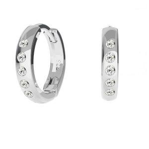 Bigiel angielski z kryształami Swarovskiego - okrągły typu kajdanki bez kółeczka*srebro AG 925*ODL-00756 ver.2 BZO 13,5x17 mm