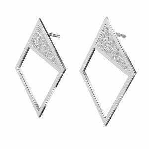 Kolczyki - romby z młotkowaną powierzchnią*srebro AG 925*KLS LKM-2751 - 0,50 11x19,2 mm
