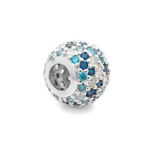 Przekładka ozdobna beads - z cyrkoniami*srebro AG 925*BDS-00006 8,2x11 mm