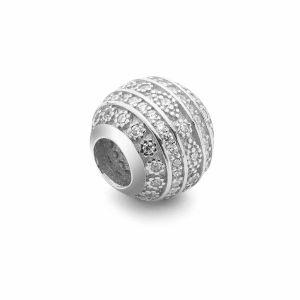 Przekładka ozdobna beads - z cyrkoniami*srebro AG 925*BDS-00008 9,5x10,5 mm