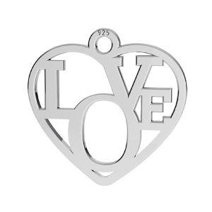 Zawieszka serce - napis LOVE*srebro 925*LK-2677 - 05 15,5x16 mm