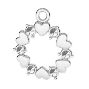 Okrągła zawieszka serce, baza do kryształów*srebro AG 925*ODL-00812 13,5x15,5 mm