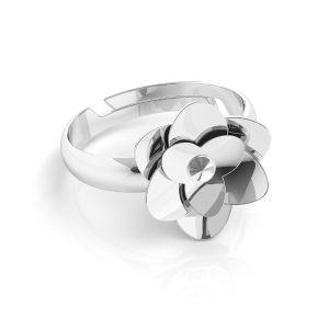 Pierścionek uniwersalny - róża z kryształem Swarovskiego*srebro AG 925*U-RING ODL-00041 11 mm