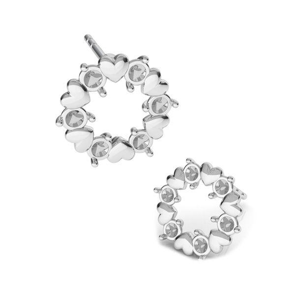 Kolczyk sztyft - serca z kryształami Swarovskiego*srebro AG 925*KLS ODL-00811 ver.2 10,8x10,8 mm