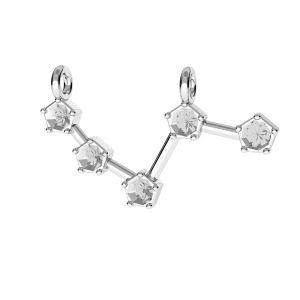 Zawieszka łącznik - znak zodiaku - baran, baza do kryształów*srebro AG 925*ODL-00636 10x25 mm