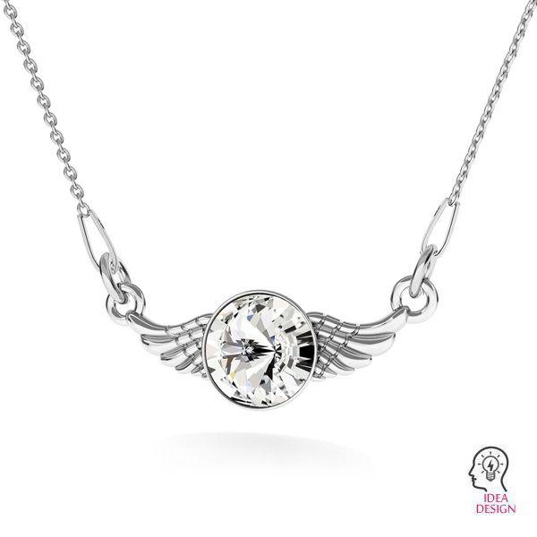 Zawieszka łącznik - skrzydła z kryształem*srebro AG 925*ODL-00310 11X26,5 mm ver.2