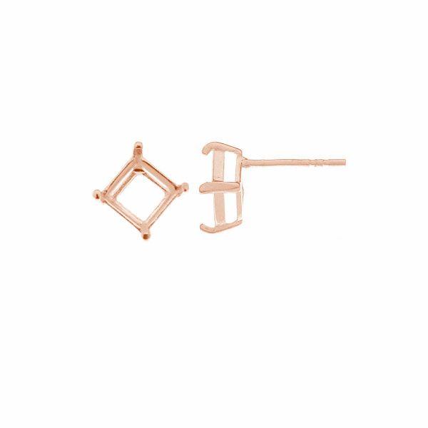 Kolczyk sztyft z koszykiem - baza do zakuwania kwadratowej cyrkonii 6x6mm*srebro AG 925*KLSG ZIRC-T 001 6x6x16 mm