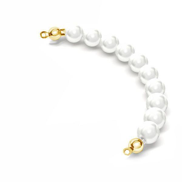 Perłowy odcinek z 10 białych pereł Swarovskiego o średnicy 6mm*srebro AG 925*EL 26 6x80 mm