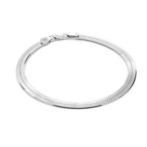 Bransoletka żmijka płaska, taśma z zamkiem*srebro AG 925*MAG 050 19 cm