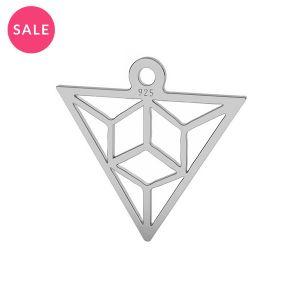 Rodowana zawieszka ażurowa - trójkąt origami*srebro AG 925*LK-1508 - 0,50 15,3x16,5 mm