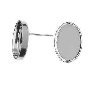 Kolczyk sztyft z miseczką owalną do żywicy*srebro AG 925*KLSG FMG 10x14 mm