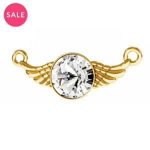 Złocona zawieszka łącznik - skrzydła z kryształem*srebro AG 925*ODL-00310 11X26,5 mm ver.2