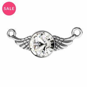 Rodowana zawieszka łącznik - skrzydła z kryształem*srebro AG 925*ODL-00310 11X26,5 mm ver.2