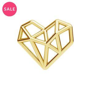 Złocona zawieszka łącznik - serce origami*srebro AG 925*ODL-00299 13,5x15,5 mm