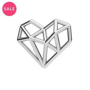 Rodowana zawieszka łącznik - serce origami*srebro AG 925*ODL-00299 13,5x15,5 mm