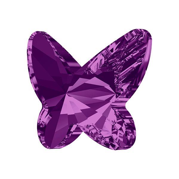 2854 MM 8,0 AMETHYST F - kryształ motyl z płaskim spodem